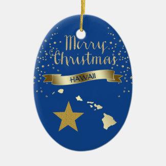 Ornement Ovale En Céramique Étoile bleue d'Hawaï d'or