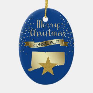 Ornement Ovale En Céramique Étoile bleue du Connecticut d'or