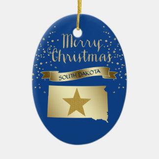 Ornement Ovale En Céramique Étoile bleue du Dakota du Sud d'or