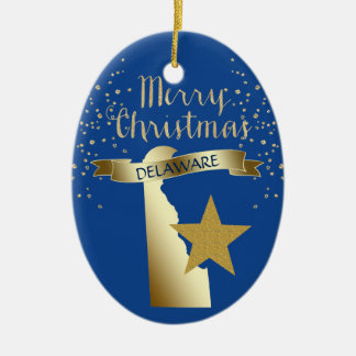 Ornement Ovale En Céramique Étoile bleue du Delaware d'or