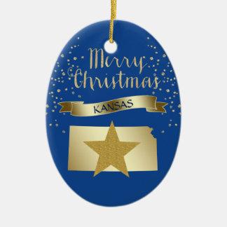 Ornement Ovale En Céramique Étoile bleue du Kansas d'or