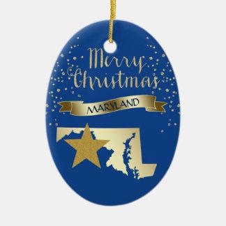 Ornement Ovale En Céramique Étoile bleue du Maryland d'or
