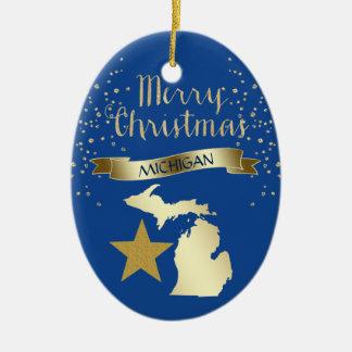 Ornement Ovale En Céramique Étoile bleue du Michigan d'or