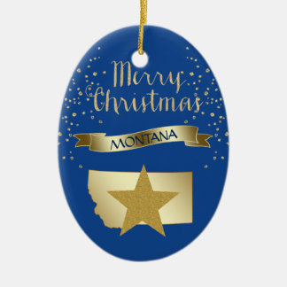 Ornement Ovale En Céramique Étoile bleue du Montana d'or