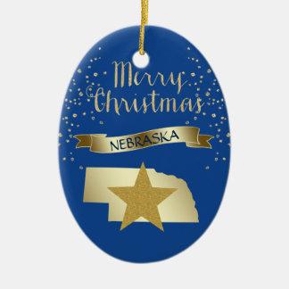 Ornement Ovale En Céramique Étoile bleue du Nébraska d'or