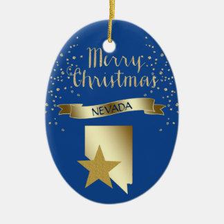 Ornement Ovale En Céramique Étoile bleue du Nevada d'or