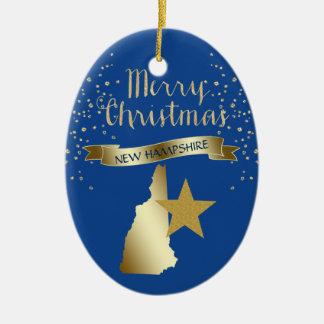 Ornement Ovale En Céramique Étoile bleue du New Hampshire d'or