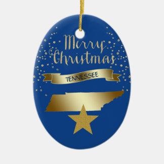 Ornement Ovale En Céramique Étoile bleue du Tennessee d'or