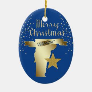 Ornement Ovale En Céramique Étoile bleue du Vermont d'or