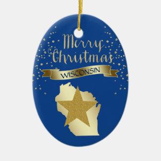 Ornement Ovale En Céramique Étoile bleue du Wisconsin d'or