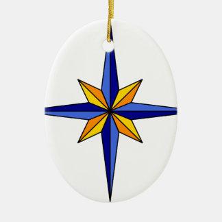 Ornement Ovale En Céramique Étoile de boussole