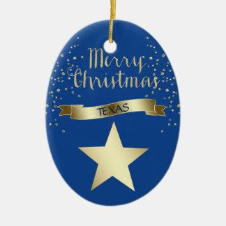 Ornement Ovale En Céramique Étoile de Texas bleue d'or