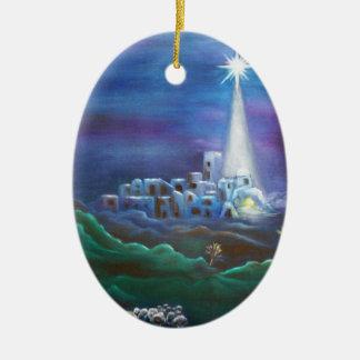 Ornement Ovale En Céramique Étoile d'ornement d'ovale de Bethlehem