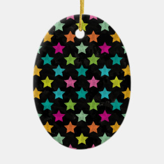 Ornement Ovale En Céramique Étoiles colorées III