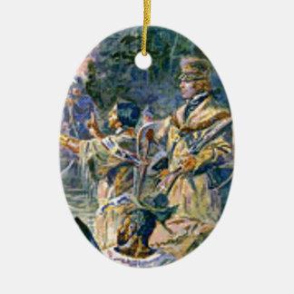 Ornement Ovale En Céramique explorateurs et squaw célèbres