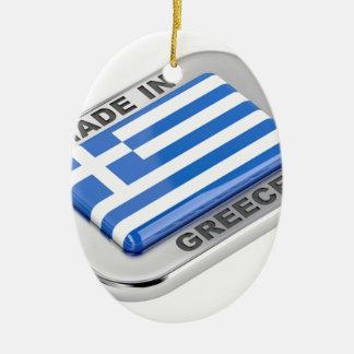 Ornement Ovale En Céramique Fait dans l'insigne de la Grèce