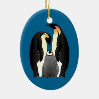 Ornement Ovale En Céramique famille de pingouin