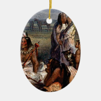 Ornement Ovale En Céramique famille tribale ouais