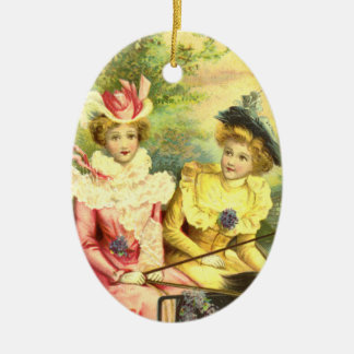 Ornement Ovale En Céramique Fantaisie victorienne vintage de dames Edwardian