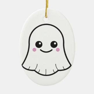 Ornement Ovale En Céramique Fantôme de blanc de Kawaii