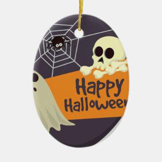 Ornement Ovale En Céramique Fantômes heureux et os croisés de Halloween