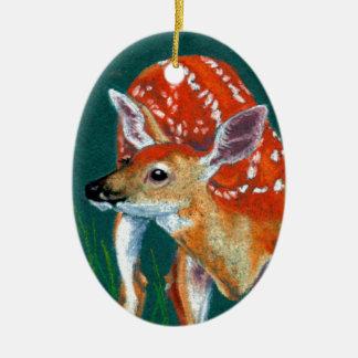Ornement Ovale En Céramique Faune secrète de faon de cerfs communs