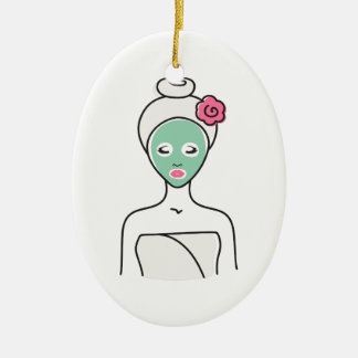 Ornement Ovale En Céramique Femme de massage facial de spa