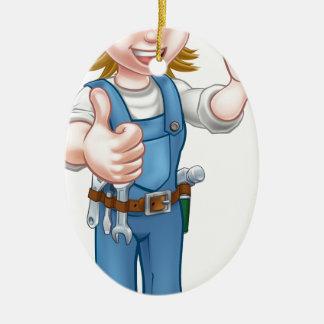 Ornement Ovale En Céramique Femme de mécanicien ou de plombier tenant la clé