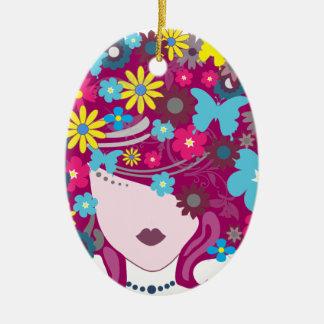 Ornement Ovale En Céramique Femme florale de cheveux de papillon