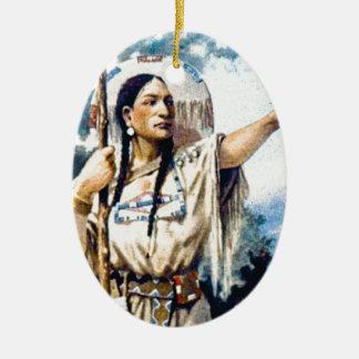 Ornement Ovale En Céramique femme indienne de squaw