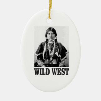 Ornement Ovale En Céramique femme occidentale sauvage