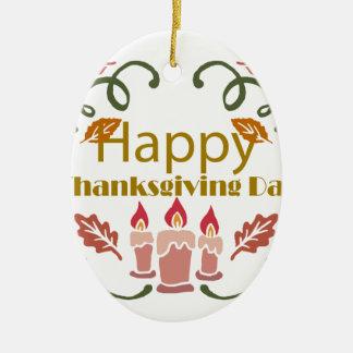 Ornement Ovale En Céramique Festival d'automne de bon thanksgiving