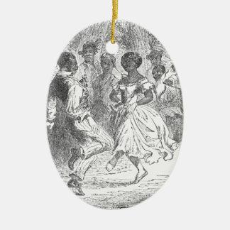 Ornement Ovale En Céramique Festivités de réveillon de Noël sur un domaine de