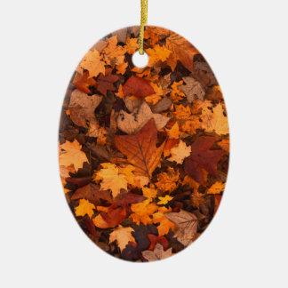 Ornement Ovale En Céramique feuillage d'automne