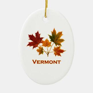 Ornement Ovale En Céramique Feuillage d'automne du Vermont - feuille d'érable