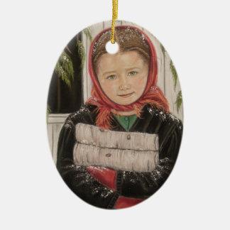 Ornement Ovale En Céramique Fille amish avec l'ornement de Noël de bois de