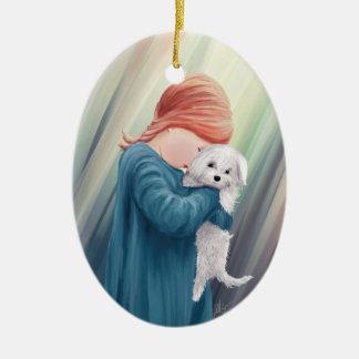 Ornement Ovale En Céramique Fille mignonne avec le chien