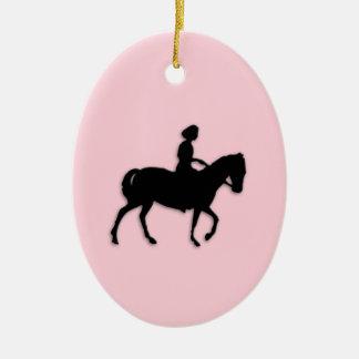 Ornement Ovale En Céramique Fille sur le rose de cheval/poney