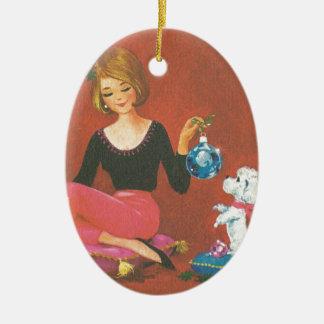 Ornement Ovale En Céramique Fille vintage de Noël avec le caniche français