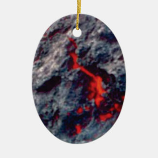 Ornement Ovale En Céramique fissure de magma