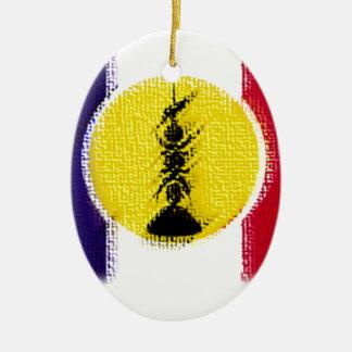Ornement Ovale En Céramique flag ncl fra knk