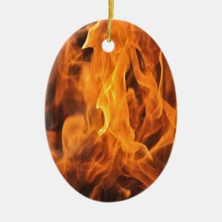 Ornement Ovale En Céramique Flammes - trop chaudes à manipuler