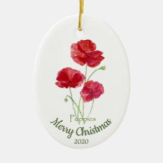 Ornement Ovale En Céramique Fleur datée de pavot d'aquarelle de Noël de