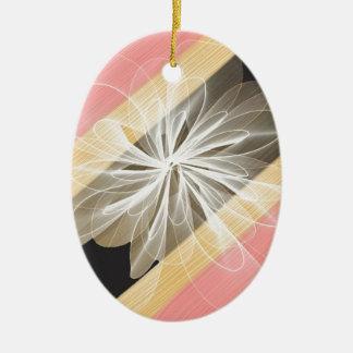 Ornement Ovale En Céramique Fleur de camouflage avec des nuances de jaune et