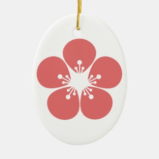 Ornement Ovale En Céramique Fleur de Sakura