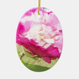 Ornement Ovale En Céramique fleur variable de rose et blanche de ketmie