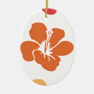 Ornement Ovale En Céramique Fleurs colorées de ketmie