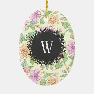 Ornement Ovale En Céramique Fleurs de ressort colorées par doux doux avec le