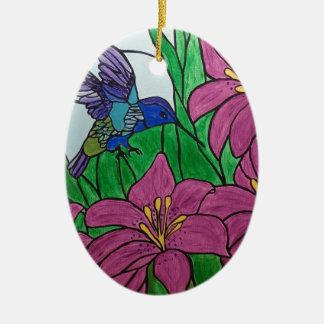 Ornement Ovale En Céramique Fleurs d'oiseau de ronflement