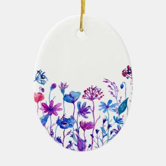 Ornement Ovale En Céramique Fleurs pourpres de champ d'aquarelle